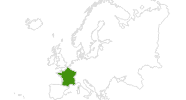 Karte der Langlaufgebiete in Frankreich