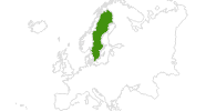 map of all cross country ski areas in Sweden