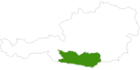 Karte der Langlaufgebiete in Kärnten