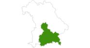 Karte der Langlaufgebiete Oberbayern - Bayerische Alpen