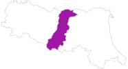 Karte der Unterkünfte in Modena