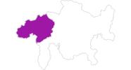 Karte der Unterkünfte in Surselva