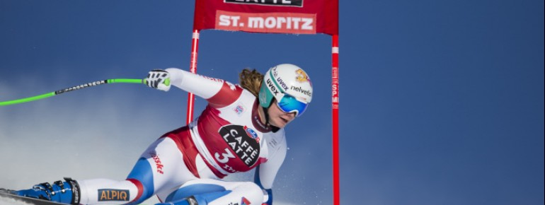 Auf der Corviglia, dem Hausberg von St. Moritz, messen sich die Skirennläuferinnen des Weltcups