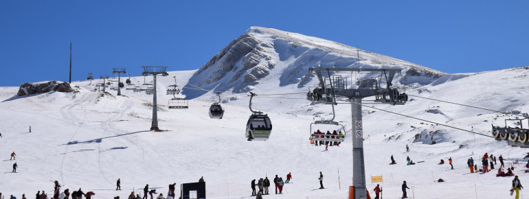 Skiing at Mount Parnassos at almost 2,500 metres altitude