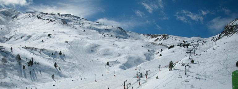 Blick auf das Skigebiet Cerler